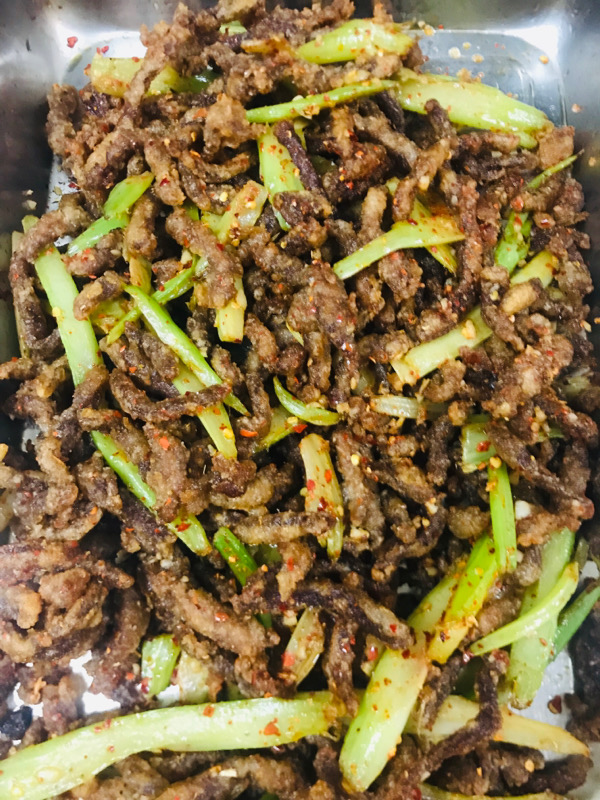 Sautéed Shredded Beef with Chili Sauce 干煸牛肉丝