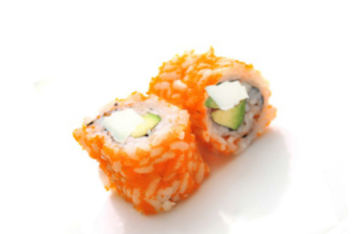 Tobikko roll cheese avocat