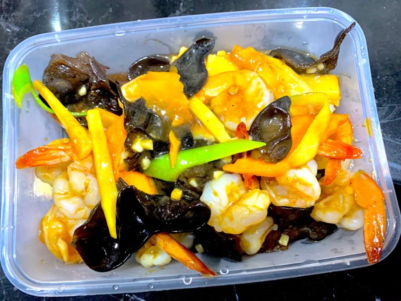 Crevettes aux champignons noirs