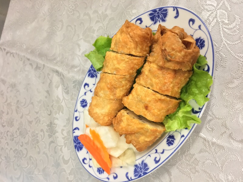 A10 Leaf of Bean Pasta Stuffed Shrimps with Vegetables in Fritter