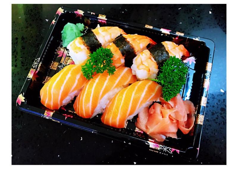 J5  3sushi saumon +3 sushi crevettes